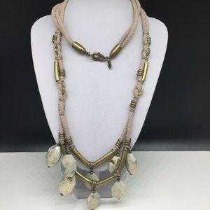 Ann Taylor Loft Tan Faux Stone Beaded Necklace